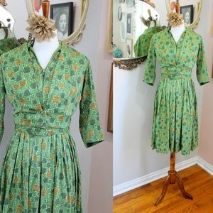 1940's Cold Rayon 3 Piece Amber Dress Set
